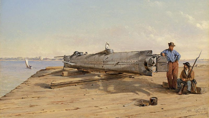 """An oil painting by Conrad Wise Chapman, """"Submarine Torpedo Boat H.L. Hunley, Dec. 6, 1863."""""""