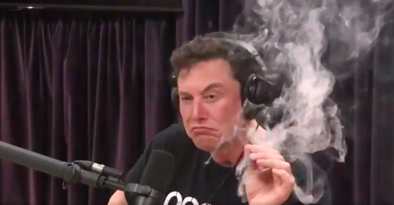 Illustration for article titled Elon Musk smokes blunt, wields samurai sword during batshit interview with Joe Rogan