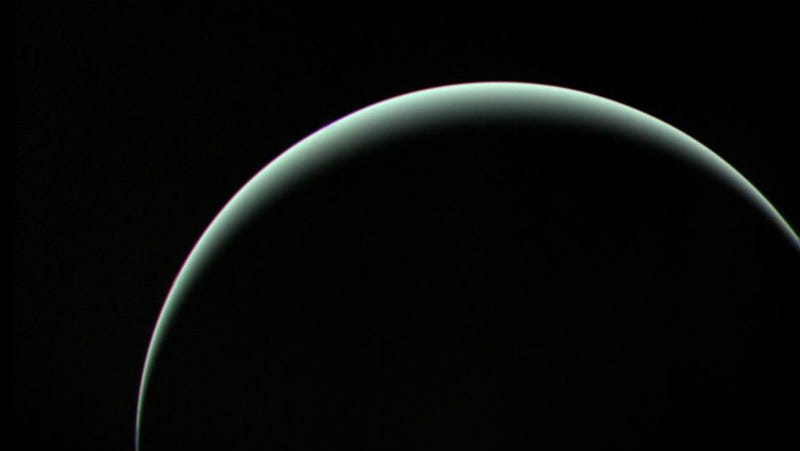 Voyager 2 captured this stunning parting shot of Uranus as it headed off towards its next destination, Neptune. (Image: NASA/JPL-Caltech)