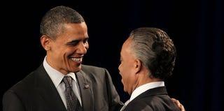President Obama, Rev. Al Sharpton (Spencer Platt/Getty Images)