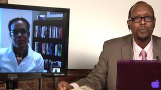 Left of Black host Mark Anthony Neal interviews professor Shana Redmond.Left of Black