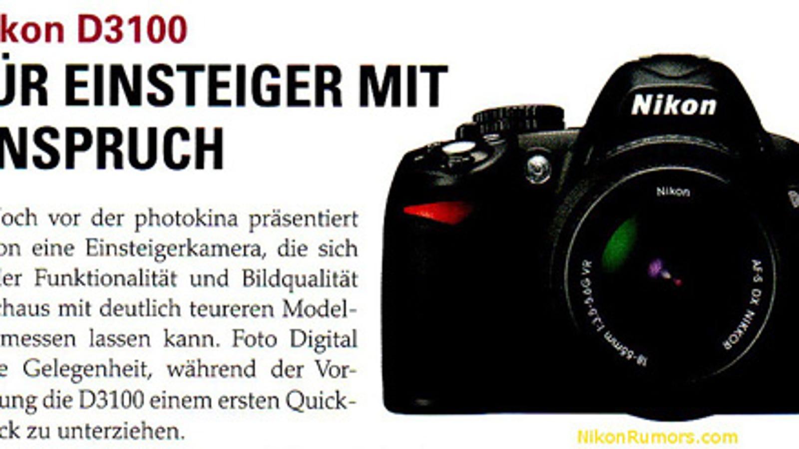 Nikon D3100 Leaked Details Reveal a 14 Megapixel CMOS Sensor and