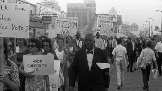 Black and white Mississippi Freedom Democratic Party supporters march on the boardwalk at the 1964 Democratic National Convention in Atlantic City, N.J.Library of Congress
