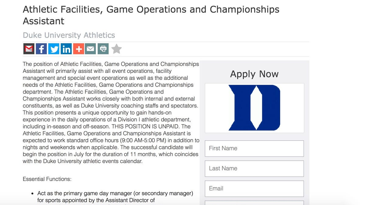 Duke Athletics Graciously Offers Full-Time Job That Will Pay