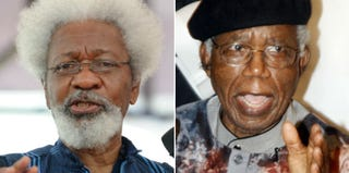 Wole Soyinka (Pius Utomi Ekpe/Getty Images); Chinua Achebe (AFP/Getty Images)