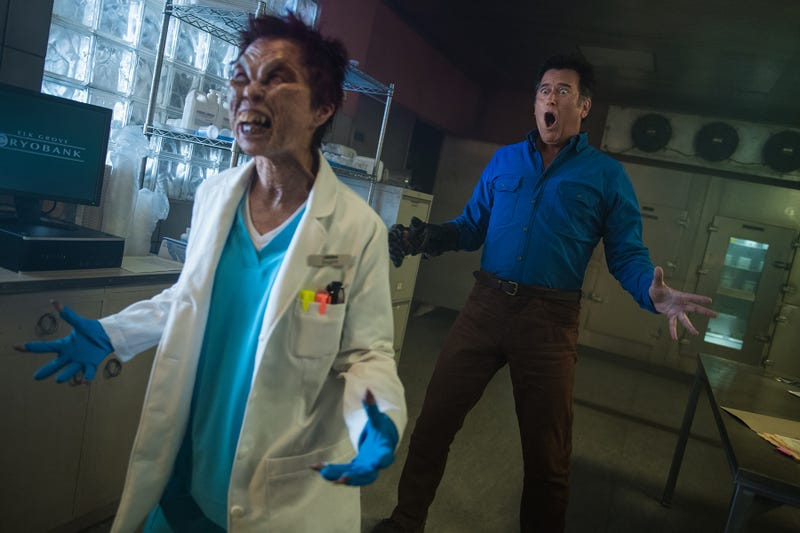 Illustration for article titled Ash Vs. Evil Dead takes on sperm banks and A-ha in one of the franchise's greatest moments