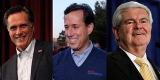 Mitt Romney (Justin Sullivan/Getty); Rick Santorum (Ethan Miller/Getty);Newt Gingrich (Chip Somodevilla/Getty Images)