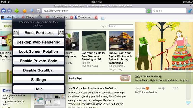 Illustration for article titled Perfect Browser Adds Tabs, Gestures, and More to iOS, Is the Ultimate iPad Browser