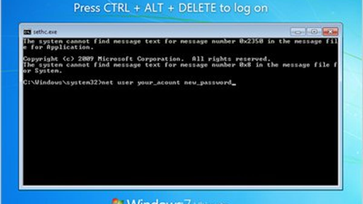 Hack the Sticky Keys Feature to Reset a Forgotten Windows