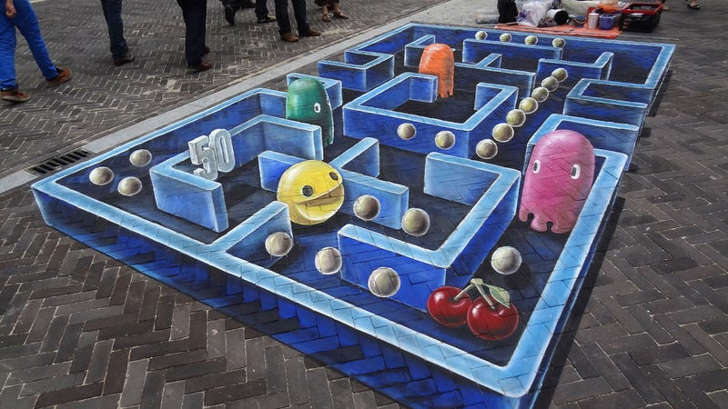 Illustration for article titled I Can't Stop Staring at This Amazing Pac-Man 3D Street Art