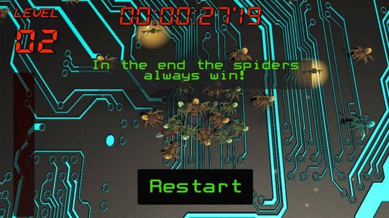 "In the end, the spiders always win. Screenshot of the ""Quantum Shooter"" game. Credit: CODER/AU"