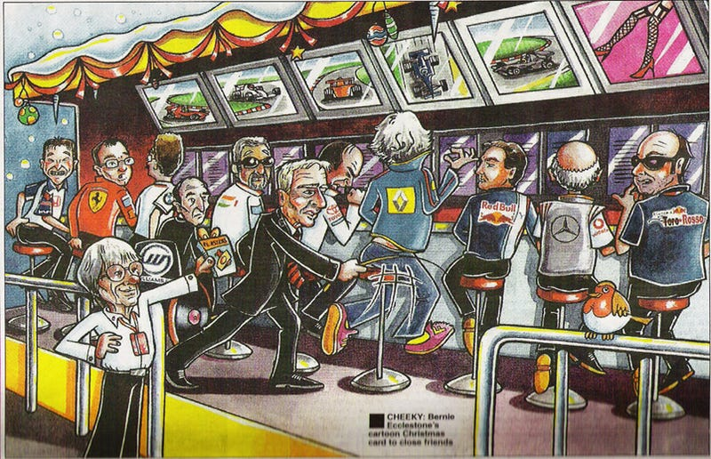 Illustration for article titled Bernie Ecclestone's Actual Max Mosley Whip-Themed Christmas Card