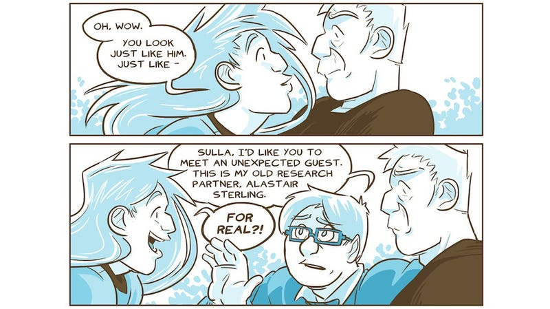 Illustration for article titled Saturday Webcomic: A roboticist meets his transgender robot doppelgänger in O Human Star