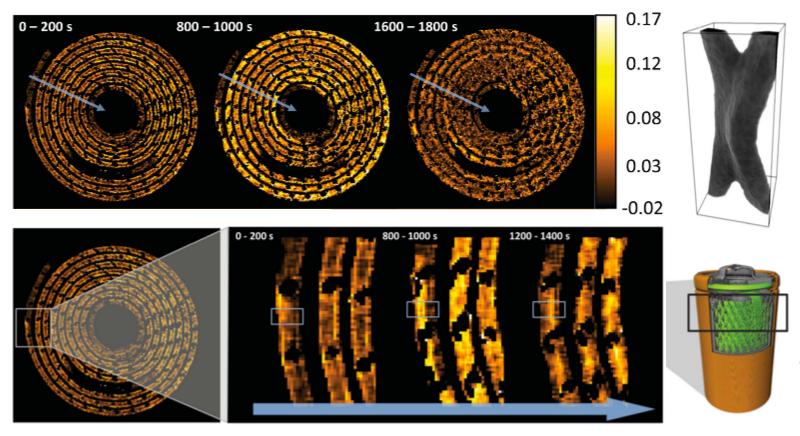 Illustration for article titled Estas imágenes de rayos X en 3D nos enseñan cómo se degrada una pila de litio