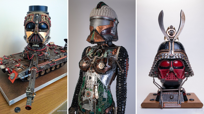 Illustration for article titled Amazing Star Wars Sculptures, Made Out Of Techno-Junk