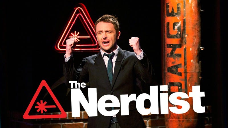 Chris Hardwick, celebrating his conquest of yet another piece of the pop culture landscape