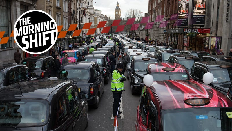A protest against Uber in London in 2016.
