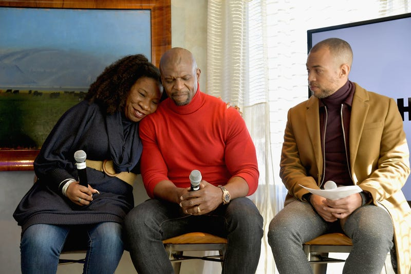 (L-R) Founder of the Me Too movement Tarana Burke, and actors Terry Crews and Kendrick Sampson speak on the HBO Me Too Panel at Sundance 2019 at Tupelo on January 26, 2019 in Park City, Utah.