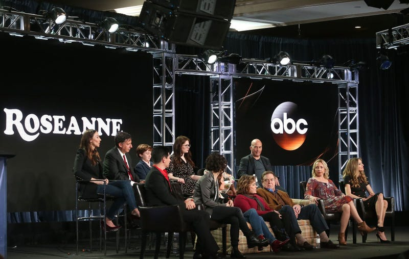 Executive producers and cast members of the Roseanne show onstage during the ABC Television/Disney portion of the 2018 Winter Television Critics Association Press Tour at the Langham Huntington, Pasadena, on Jan. 8, 2018, in Pasadena, Calif.