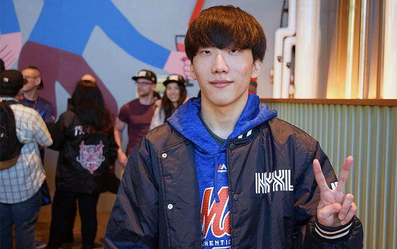 NYXL's support player Ark at a brewery outside the Mets stadium.