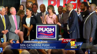 Democratic mayoral nominee state Sen. Catherine Pugh giving her acceptance speech April 26, 2016WBAL via YouTube screenshot