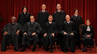 U.S. Supreme Court members, first row: Associate Justice Clarence Thomas, Associate Justice Antonin Scalia, Chief Justice John Roberts, Associate Justice Anthony Kennedy, Associate Justice Ruth Bader Ginsburg. Back row: Associate Justice Sonia Sotomayor, Associate Justice Stephen Breyer, Associate Justice Samuel Alito and Associate Justice Elena Kagan.Chip Somodevilla/Getty Images