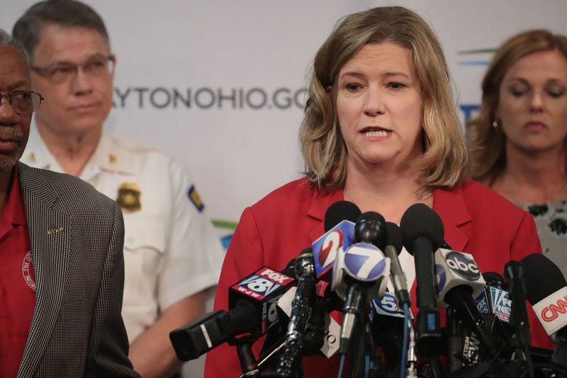 Dayton Mayor Nan Whaley hold a press conference to update the media about the mass shooting on August 05, 2019 in Dayton, Ohio.