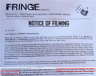 Illustration for article titled Fringe Filming Notice