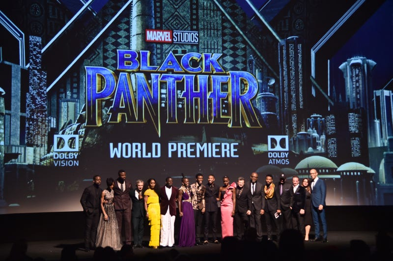 Actors Sterling K. Brown, Letitia Wright, Winston Duke, Martin Freeman, Angela Bassett, Daniel Kaluuya, Lupita Nyong'o, Chadwick Boseman, Michael B. Jordan, Danai Gurira, Andy Serkis and Forest Whitaker; writer-director Ryan Coogler; Marvel Studios President Kevin Feige; producers Louis D'Esposito and Victoria Alonso; and executive producer Nate Moore at the world premiere of Marvel Studios' Black Panther at Dolby Theatre in Hollywood, Calif., on Jan. 29, 2018 (Jesse Grant/Getty Images for Disney)