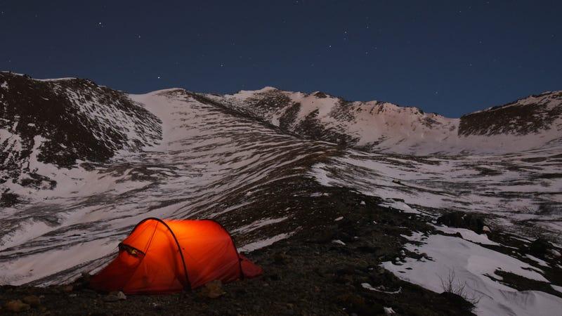 Camping in Chugach State Park in Alaska.