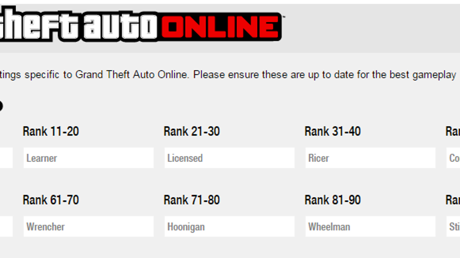 Updated my GTA V crew's rank titles