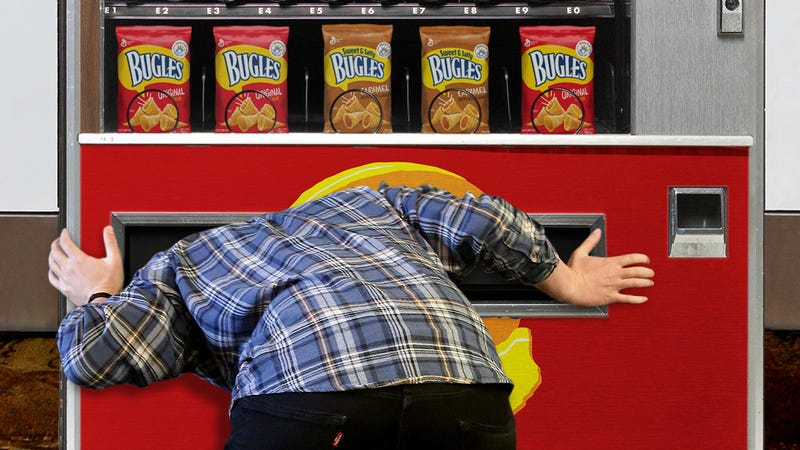 Illustration for article titled Class Action Lawsuit: If Your Head Has Been Stuck In A Bugles Vending Machine For Over 10 Years, You May Be Entitled To A Free Pack Of Bugles