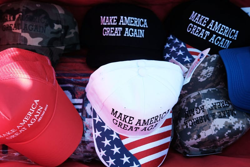 """Donald Trump """"Make America Great Again"""" hats are sold at a rally on Nov. 4, 2016, in Hershey, Pa. (Spencer Platt/Getty Images)"""