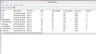 WifiInfoView Shows Info About Nearby Networks, Finds Clear Channels