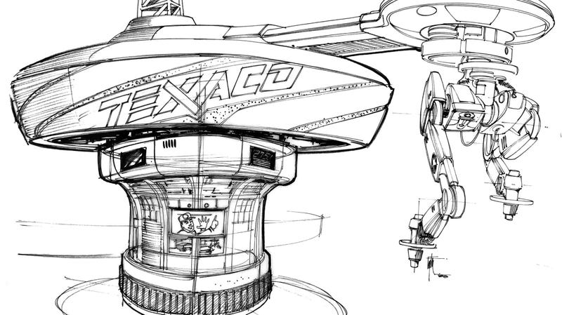 A concept design of the Texaco station in Back to the Future Part II by Edward Eyth. All concept images below were used with his permission.