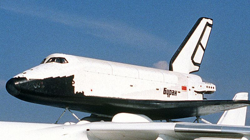 Any similarities between the Buran and the American Space Shuttle are probably the result of Russian spycraft. (Wikipedia/Master Sgt. Dave Casey)