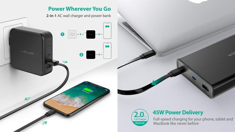 USB C Portable Charger RAVPower 20100mAh PD 3.0 45W Battery Pack + 6700mAh 2-in-1 Charger | $50 | Amazon | Clip both coupons and use code SPX8MFSN