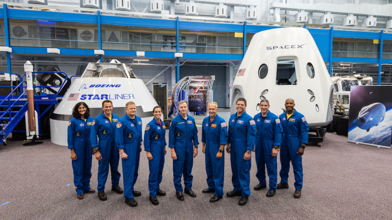 The commercial space flight crew. From left to right: Sunita Williams, Josh Cassada, Eric Boe, Nicole Mann, Christopher Ferguson, Douglas Hurley, Robert Behnken, Michael Hopkins and Victor Glover.
