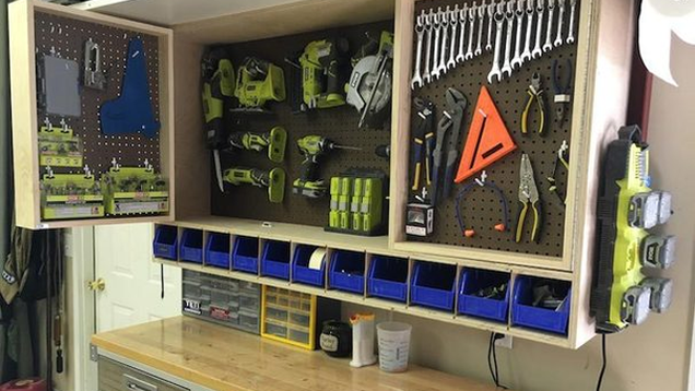 Make a fold out space saving tool storage cabinet for for Diy garage workshop