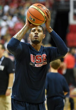 Paul George shoots free throws as he warms up before a USA Basketball showcase at the Thomas & Mack Center in Las Vegas Aug. 1, 2014.Ethan Miller/Getty Images