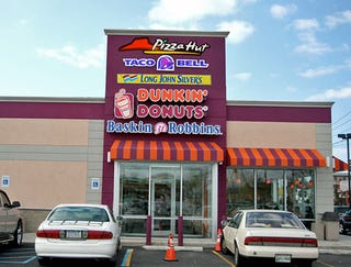 Illustration for article titled Dunkin' Donuts/Baskin Robbins/Pizza Hut/Taco Bell/Long John Silver's Opens