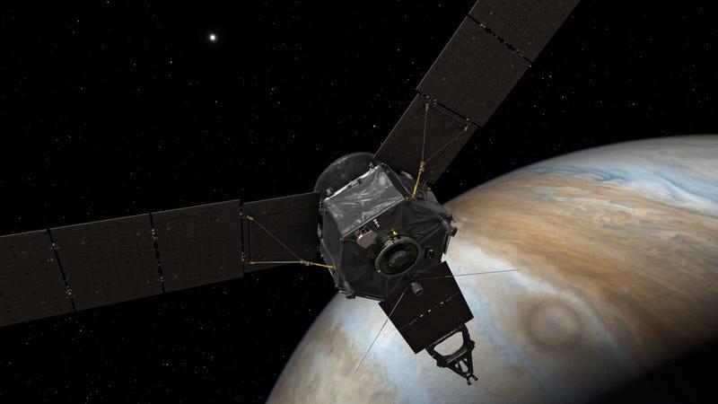 Imagen conceptual de Juno en Júpiter (Imagen: NASA/JPL-Caltech)