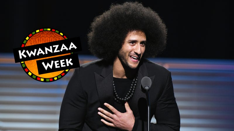 Colin Kaepernick receiving the SI Muhammad Ali Legacy Award during Sports Illustrated 2017 Sportsperson of the Year Show on Dec. 5, 2017, in New York City (Slaven Vlasic/Getty Images for Sports Illustrated); photo illustration by GMG/The Root