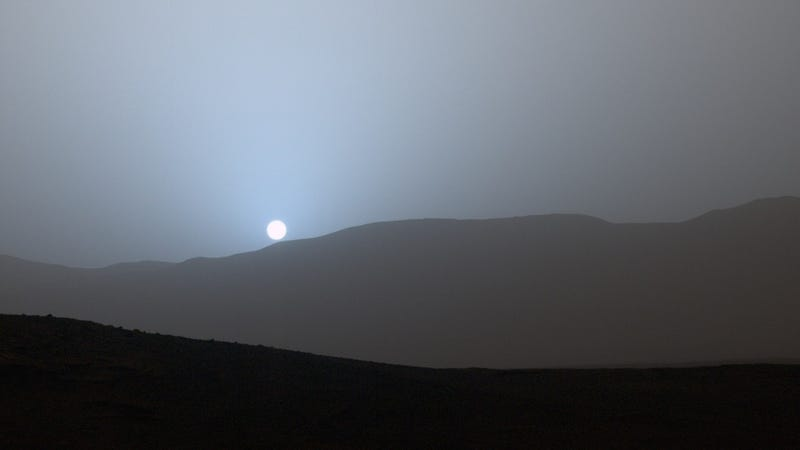 The sunset on Mars from Gale Crater, as photographed by Curiosity rover.