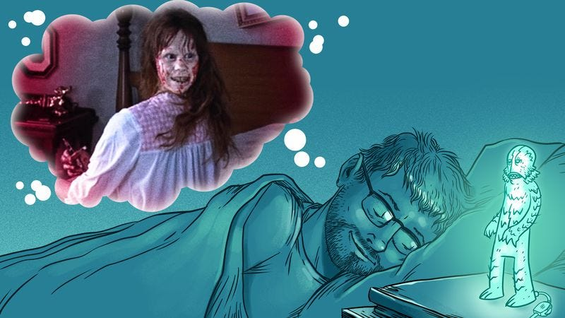 Film editor A.A. Dowd doesn't let The Exorcist disrupt his sleep. Also he goes to bed wearing his glasses. (Illustration: Nick Wanserski)