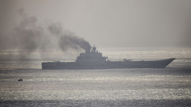 The Admiral Kuznetsov transits the English Channel back in October. Photo credit: Getty Images
