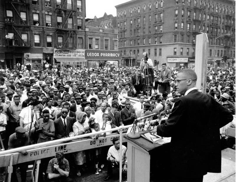 Malcolm X, Muslim leader, addresses a rally in Harlem in New York City on June 29, 1963.