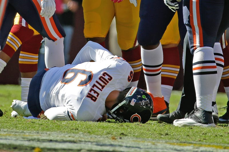 Illustration for article titled Jay Cutler Injured, Questionable To Return [Update: Out]