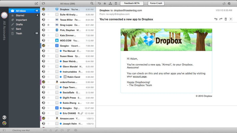 Illustration for article titled Airmail Is a Fully-Featured Yet Fast Mac Email Client with Support for Gmail, Dropbox, and More