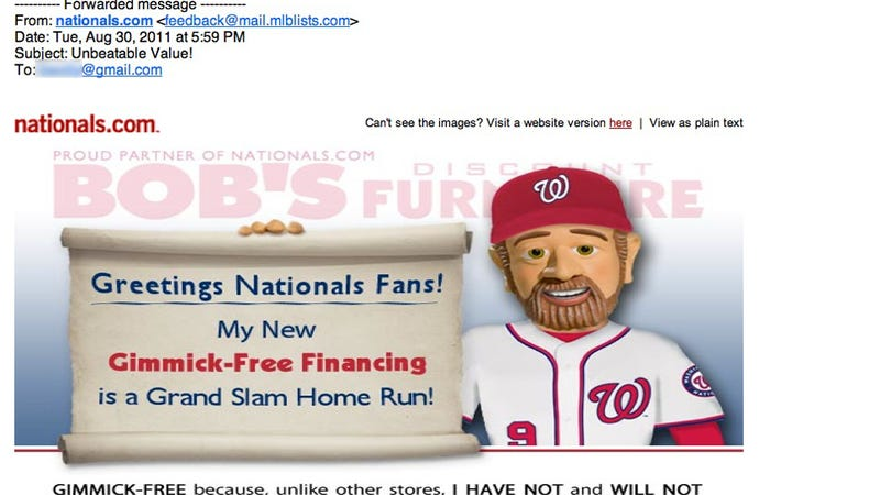 Illustration for article titled The Nationals Are Now Using Their Mailing List To Send Fans Ads For Discount Furniture